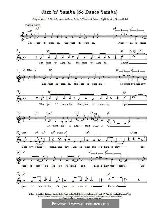 Só Danço Samba (Jazz 'n' Samba): Melodie, Text und Akkorde by Antonio Carlos Jobim