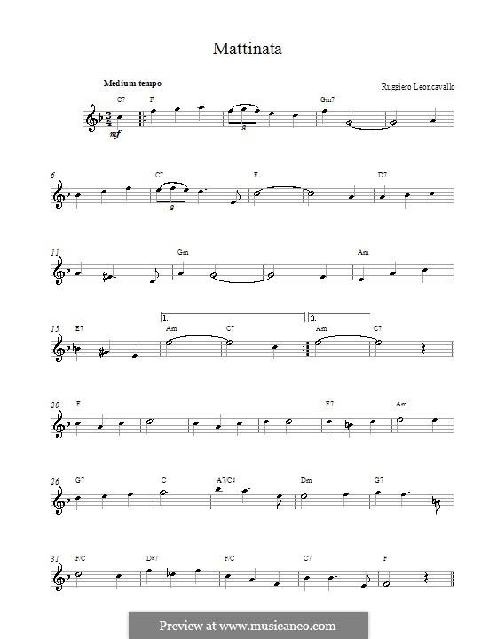 Mattinata: Melodie und Akkorde by Ruggero Leoncavallo