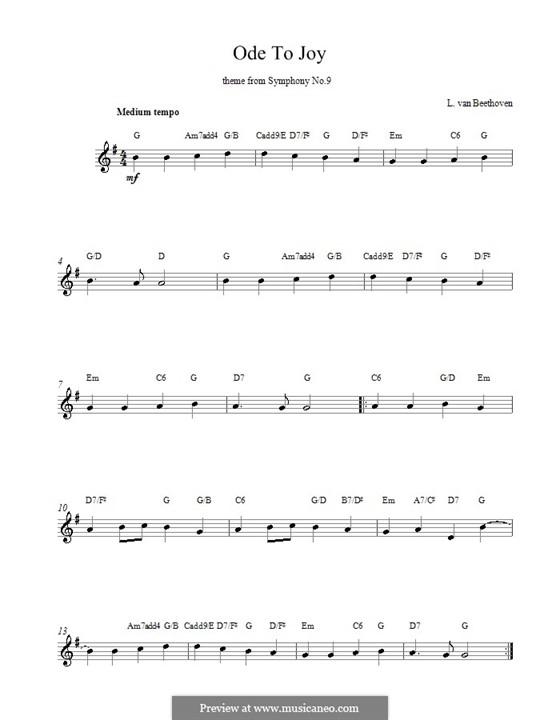Ode an die Freude: Melodische Linie by Ludwig van Beethoven