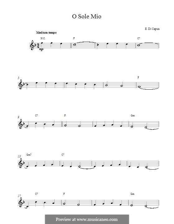 O Sole Mio: Melodische Linie by Eduardo di Capua