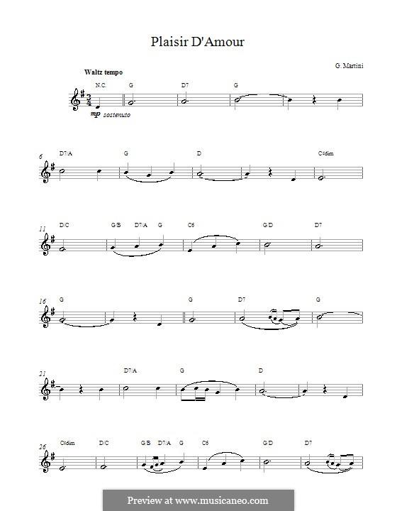 Plaisir d'Amour: Texte und Akkorde by Jean Paul Egide Martini