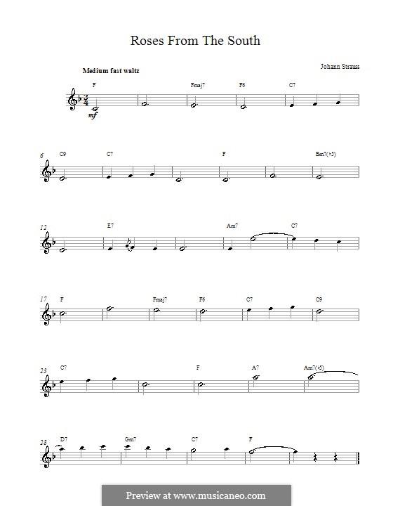 Rosen aus dem Süden, Op.388: Melodische Linie by Johann Strauss (Sohn)