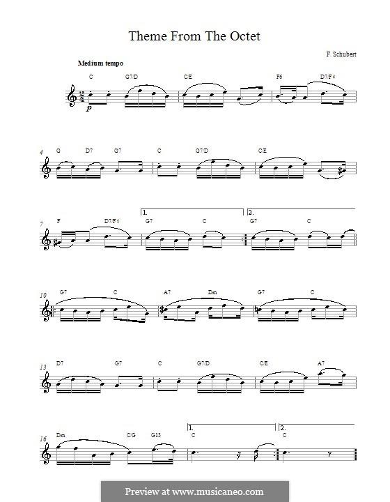 Oktett für Streicher und Bläser in F-Dur, D.803 Op.166: Andante (Theme), melody line by Franz Schubert