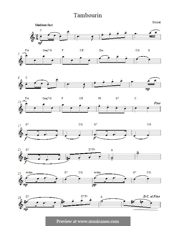 Tambourin in F-Dur: Melodische Linie by François Joseph Gossec