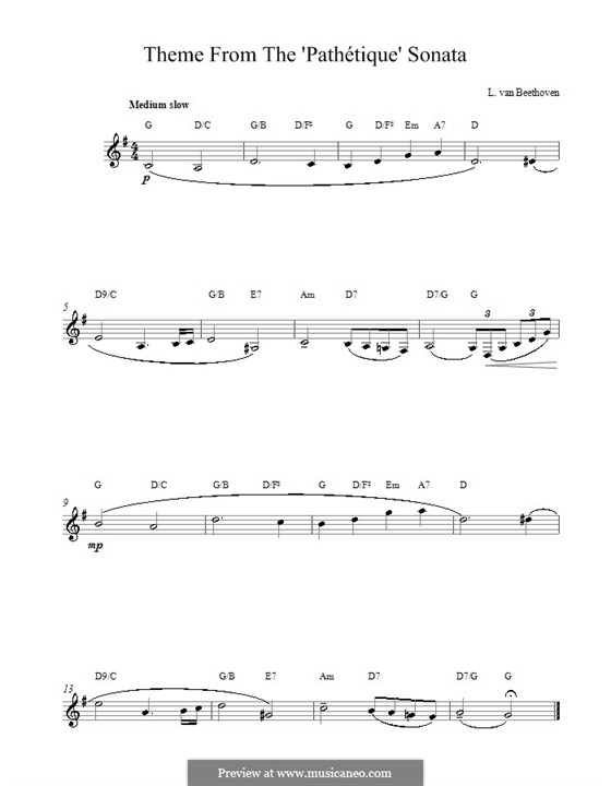 Teil II: Theme. Melody line, lyrics and chords by Ludwig van Beethoven