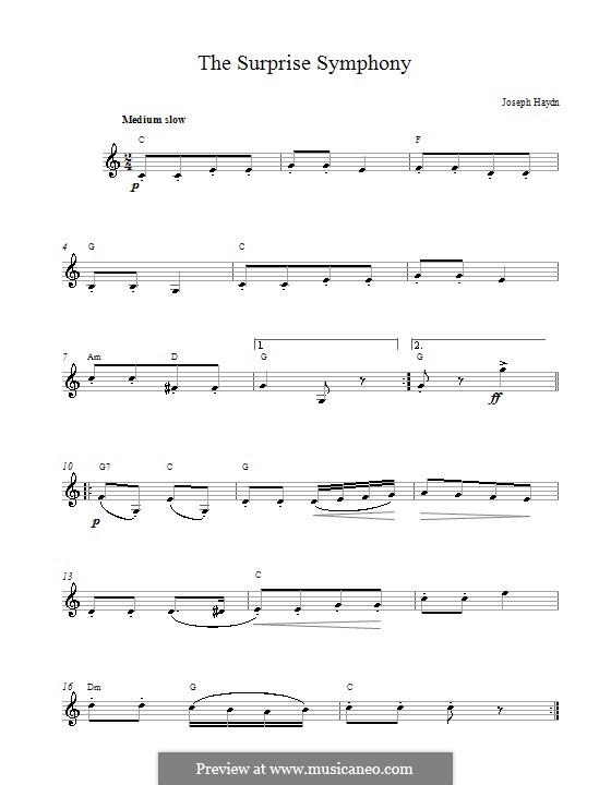 Teil II: Theme. Melody line, chords by Joseph Haydn