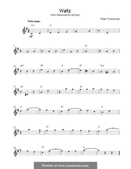 Serenade für Streichorchester, TH 48 Op.48: Teil II (Waltz). Melody line and chords by Pjotr Tschaikowski