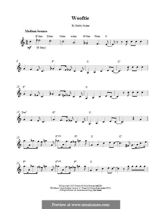Wooftie: Melodie, Text und Akkorde by Chubby Jackson