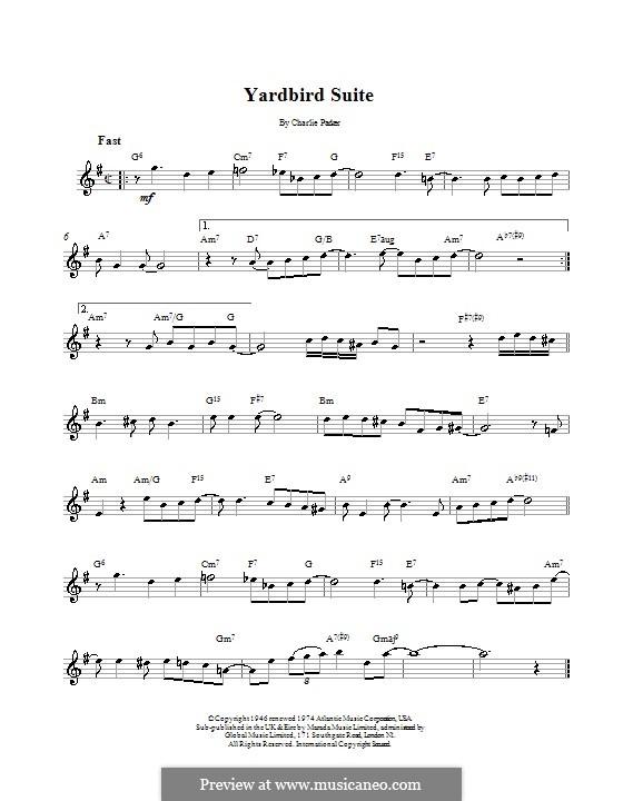 Yardbird Suite: Melodie, Text und Akkorde by Charlie Parker