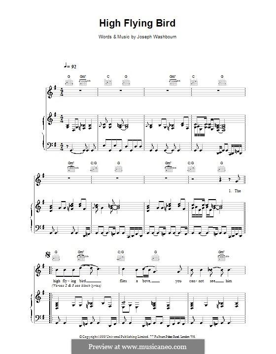 High Flying Bird (Toploader): Für Stimme und Klavier (oder Gitarre) by Joseph Washbourn