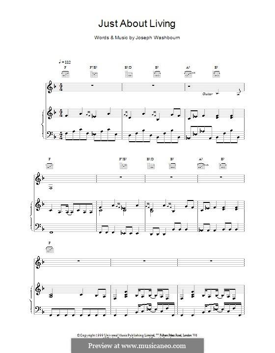 Just About Living (Toploader): Für Stimme und Klavier (oder Gitarre) by Joseph Washbourn
