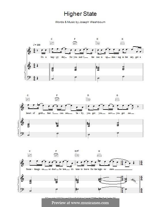 Higher State (Toploader): Für Stimme und Klavier (oder Gitarre) by Joseph Washbourn