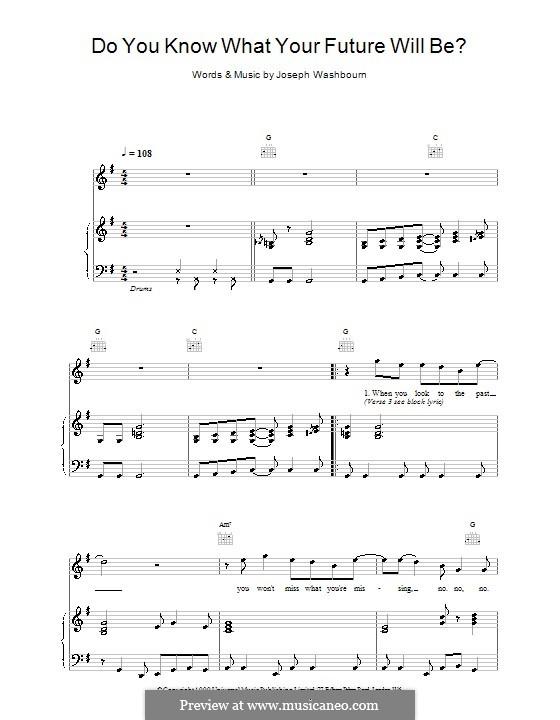Do You Know What Your Future Will Be? (Toploader): Für Stimme und Klavier (oder Gitarre) by Joseph Washbourn