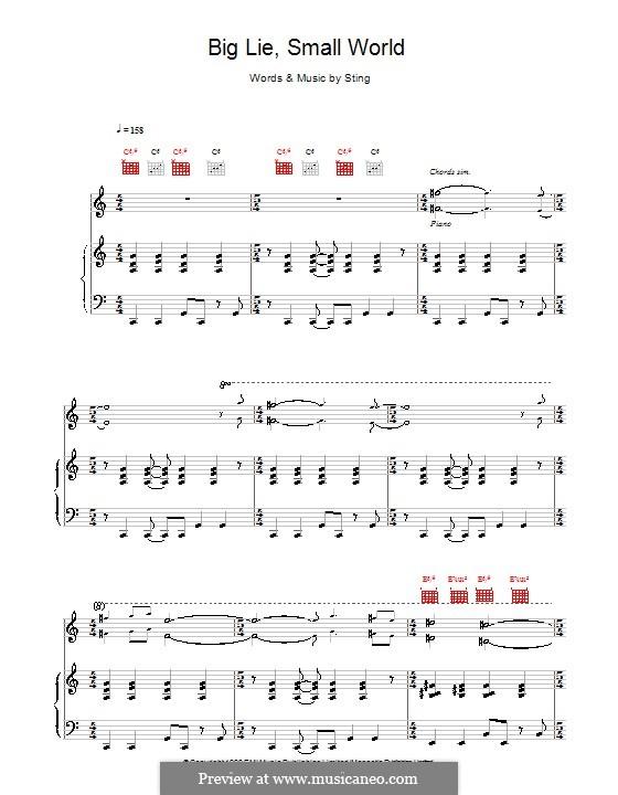 Big Lie Small World: Für Stimme und Klavier (oder Gitarre) by Sting