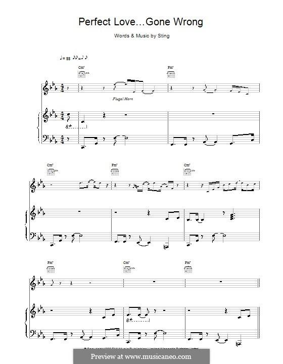 Perfect Love Gone Wrong: Für Stimme und Klavier (oder Gitarre) by Sting