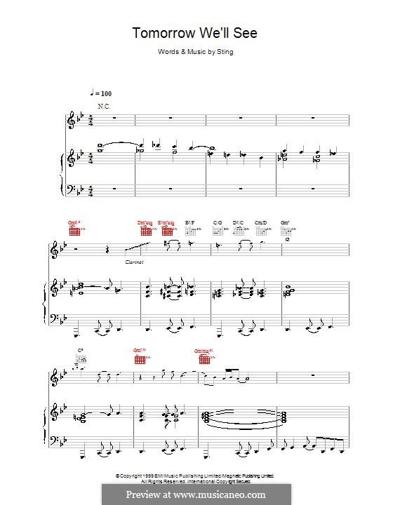 Tomorrow We'll See: Für Stimme und Klavier (oder Gitarre) by Sting