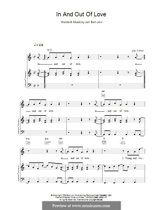 In and out of Love (Bon Jovi): Für Stimme und Klavier (oder Gitarre) by Jon Bon Jovi