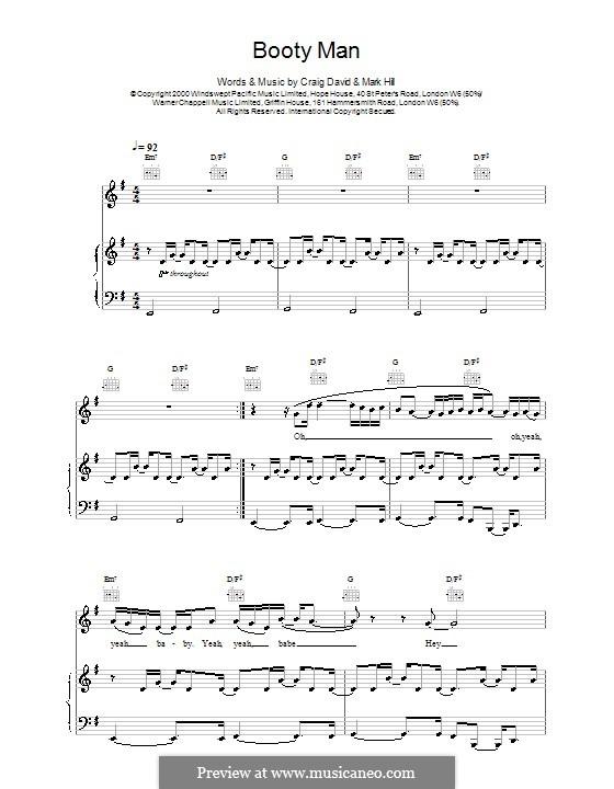Booty Man: Für Stimme und Klavier (oder Gitarre) by Craig David