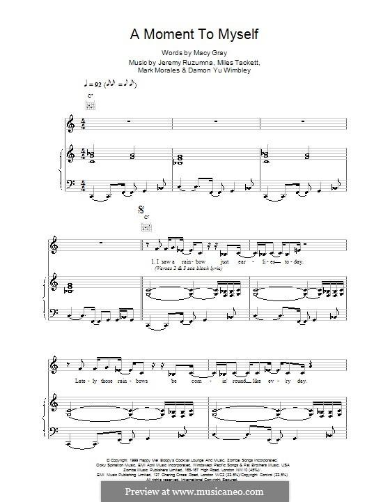 A Moment to Myself: Für Stimme und Klavier (oder Gitarre) by Macy Gray