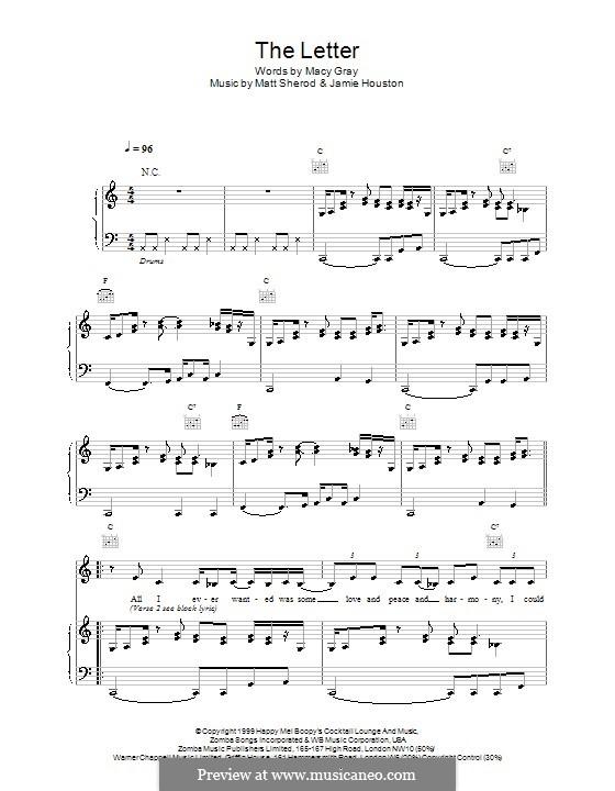 The Letter: Für Stimme und Klavier (oder Gitarre) by Macy Gray