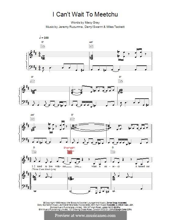I Cant Wait To Meetchu: Für Stimme und Klavier (oder Gitarre) by Macy Gray