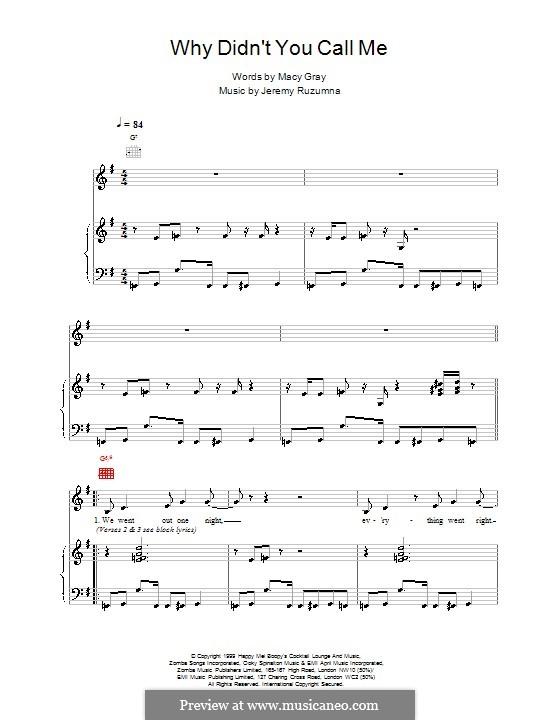 Why Didnt You Call Me: Für Stimme und Klavier (oder Gitarre) by Macy Gray