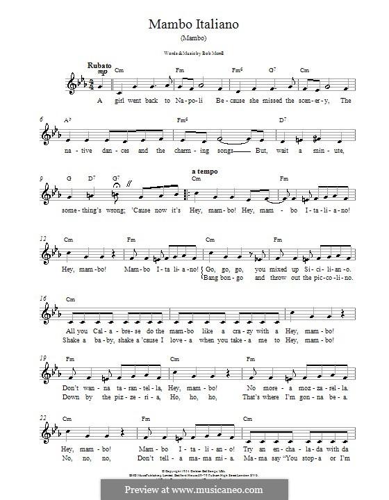 Mambo Italiano: Melodie, Text und Akkorde by Bob Merrill