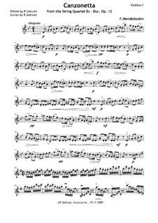 Streichquartett Nr.1 in Es-Dur, Op.12: Teil II – Violinstimme by Felix Mendelssohn-Bartholdy
