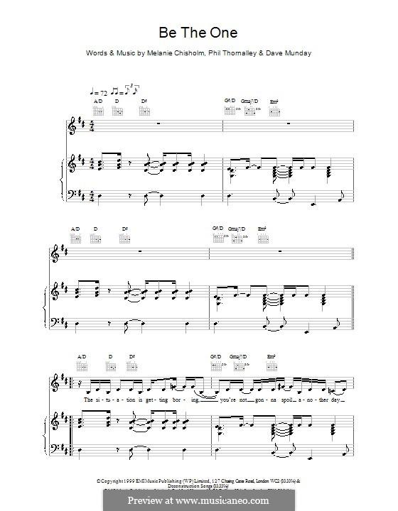 Be the One: Für Stimme und Klavier (oder Gitarre) by Melanie C