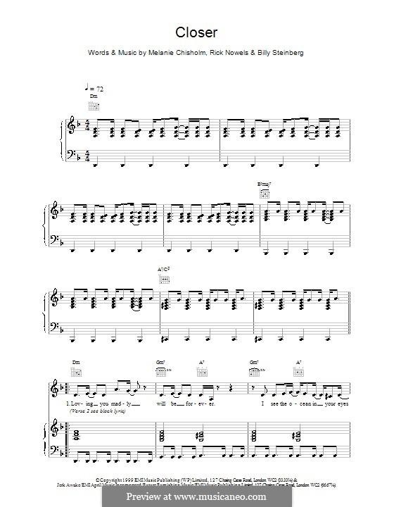 Closer: Für Stimme und Klavier (oder Gitarre) by Melanie C