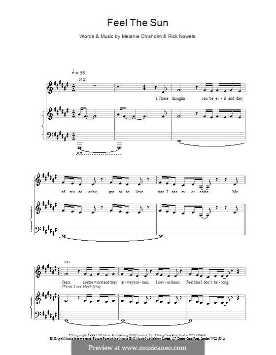 Feel the Sun: Für Stimme und Klavier (oder Gitarre) by Melanie C