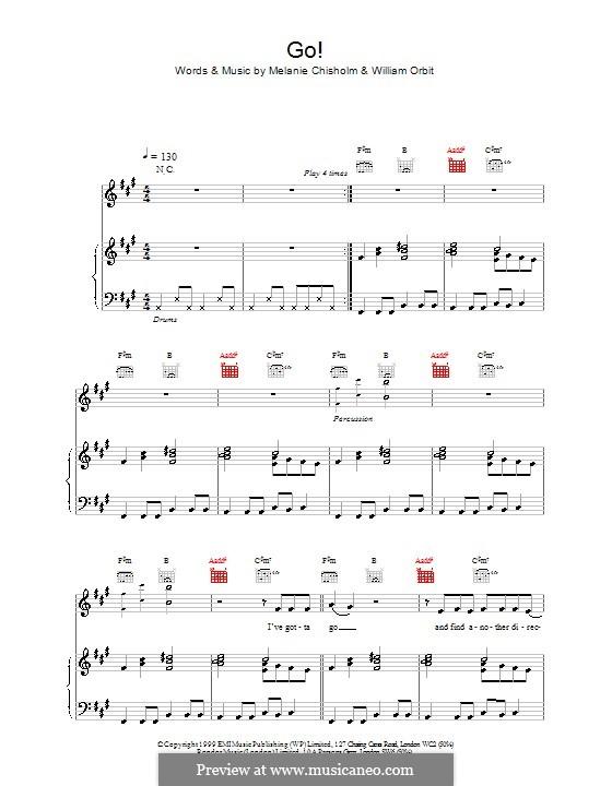 Go!: Für Stimme und Klavier (oder Gitarre) by Melanie C