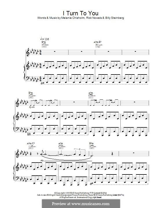 I Turn to You: Für Stimme und Klavier (oder Gitarre) by Billy Steinberg, Melanie C, Rick Nowels