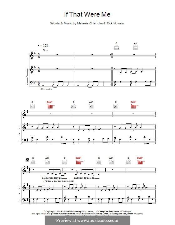 If That Were Me: Für Stimme und Klavier (oder Gitarre) by Billy Steinberg, Melanie C, Rick Nowels