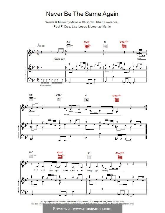 Never Be the Same Again: Für Stimme und Klavier (oder Gitarre) by Melanie C