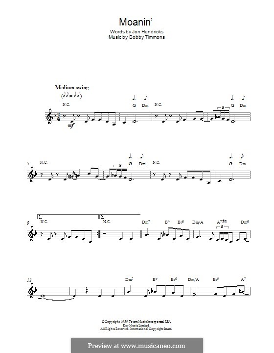 Moanin': Melody line (with chord symbols) by Bobby Timmons
