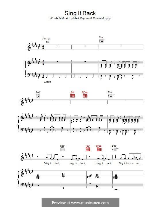 Sing It Back (Moloko): Für Stimme und Klavier (oder Gitarre) by Mark Brydon, Roisin Murphy