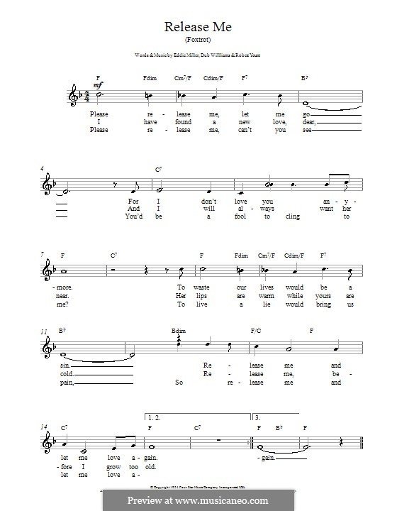 Release Me (Engelbert Humperdinck): Melodie, Text und Akkorde by Dub Williams, Eddie Miller, Robert Yount