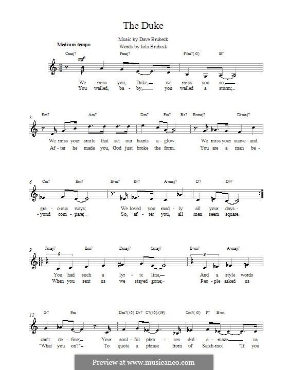 The Duke: Melodie, Text und Akkorde by Dave Brubeck