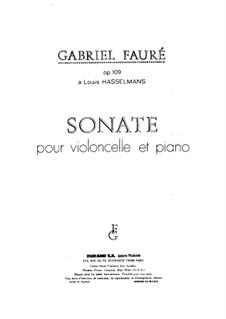 Sonate für Cello und Klavier in d-Moll, Op.109 No.1: Partitur, Solostimme by Gabriel Fauré