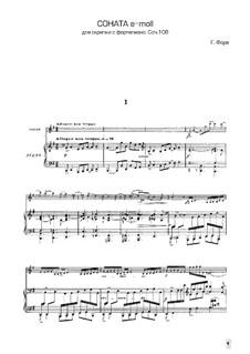 Sonate für Violine und Klavier in e-Moll, Op.108 No.2: Partitur, Solostimme by Gabriel Fauré