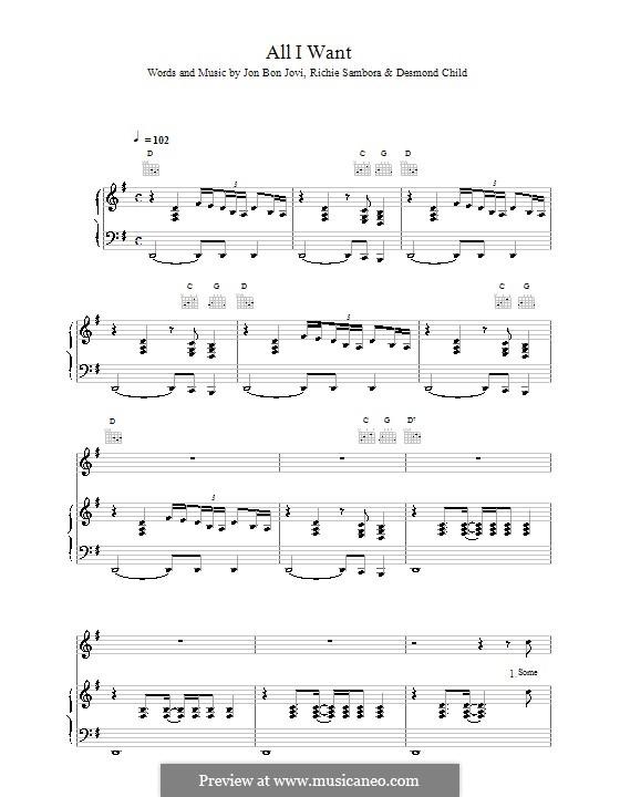 All I Want Is Everything (Bon Jovi): Für Stimme und Klavier (oder Gitarre) by Jon Bon Jovi, Richie Sambora