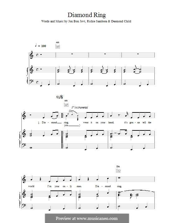Diamond Ring (Bon Jovi): Für Stimme und Klavier (oder Gitarre) by Jon Bon Jovi, Richie Sambora