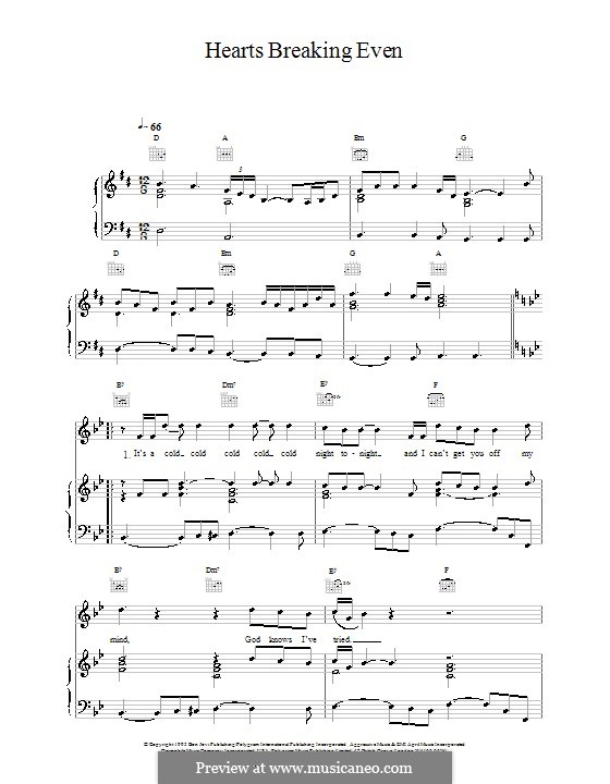 Hearts Breaking Even (Bon Jovi): Für Stimme und Klavier (oder Gitarre) by Desmond Child, Jon Bon Jovi