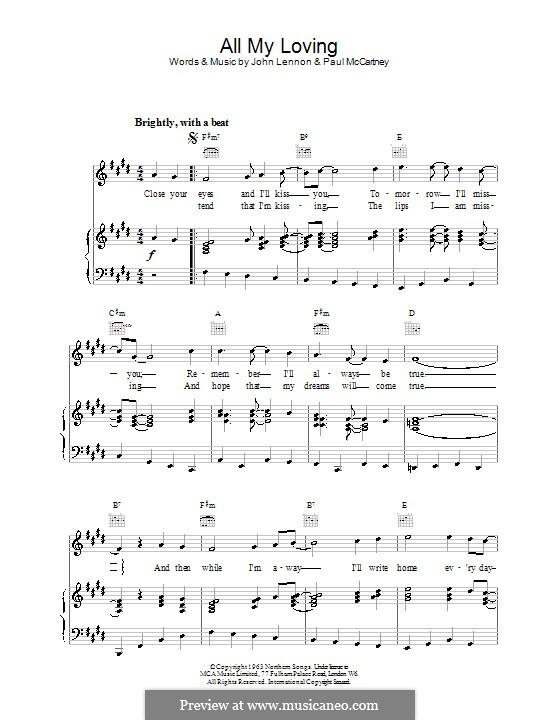 All My Loving (The Beatles): Für Stimme mit Klavier oder Gitarre by John Lennon, Paul McCartney