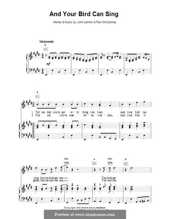 And Your Bird Can Sing (The Beatles): Für Stimme und Klavier (oder Gitarre) by John Lennon, Paul McCartney