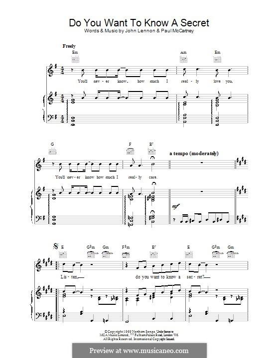 Do You Want to Know a Secret? (The Beatles): Für Stimme und Klavier (oder Gitarre) by John Lennon, Paul McCartney