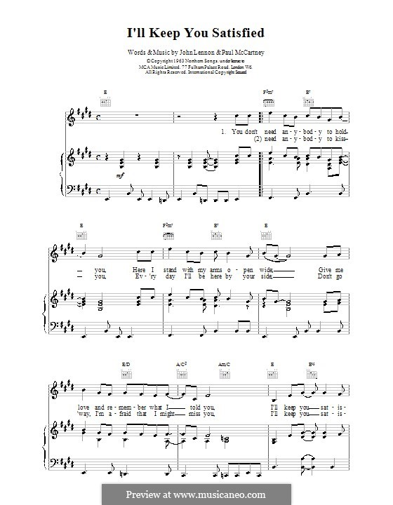 I'll Keep You Satisfied (The Beatles): Für Stimme und Klavier (oder Gitarre) by John Lennon