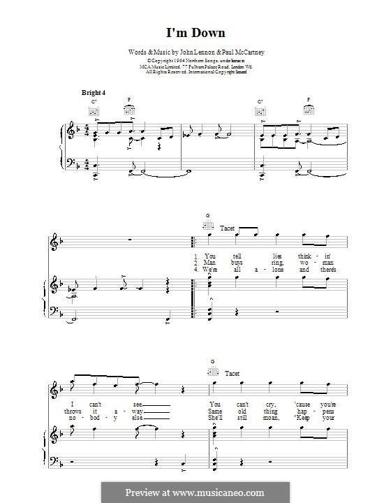 I'm Down (The Beatles): Für Stimme und Klavier (oder Gitarre) by John Lennon, Paul McCartney