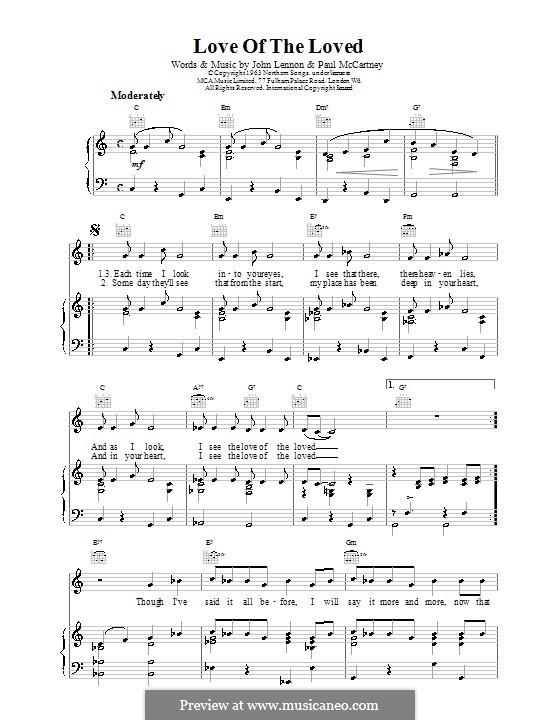 Love of the Loved (The Beatles): Für Stimme und Klavier (oder Gitarre) by John Lennon